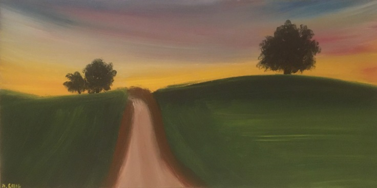 sunset over field painting